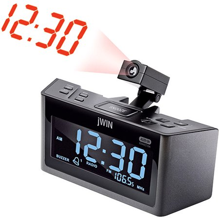 jwin dual alarm clock w projection and am fm radio. Black Bedroom Furniture Sets. Home Design Ideas