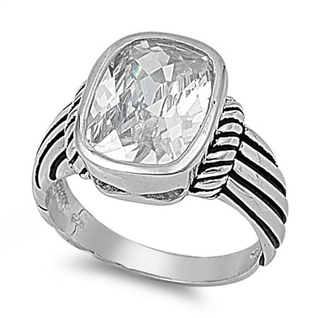 Women's Large Clear CZ Cute Ring ( Sizes 5 6 7 8 9 10 11 12 13 ) New 925 Sterling Silver Grooved Band Rings (Size 10) (Grooved Sterling Silver Fashion Ring)