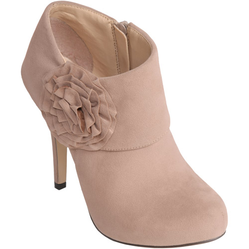 Brinley Co. - Women's Rose Trim High Heel Platform Booties
