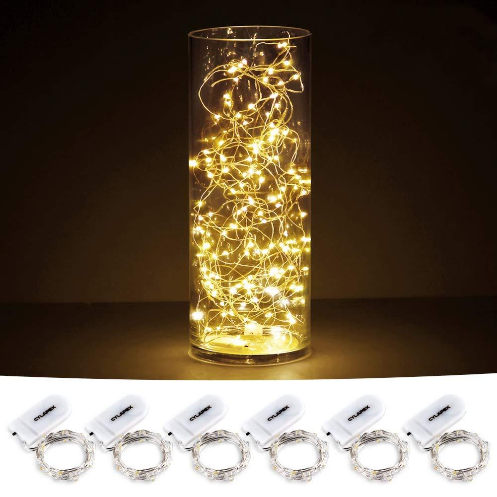 Pack of 6 LED Moon Lights 20 Micro Starry LEDs on Copper Extra Thin Silver Wire