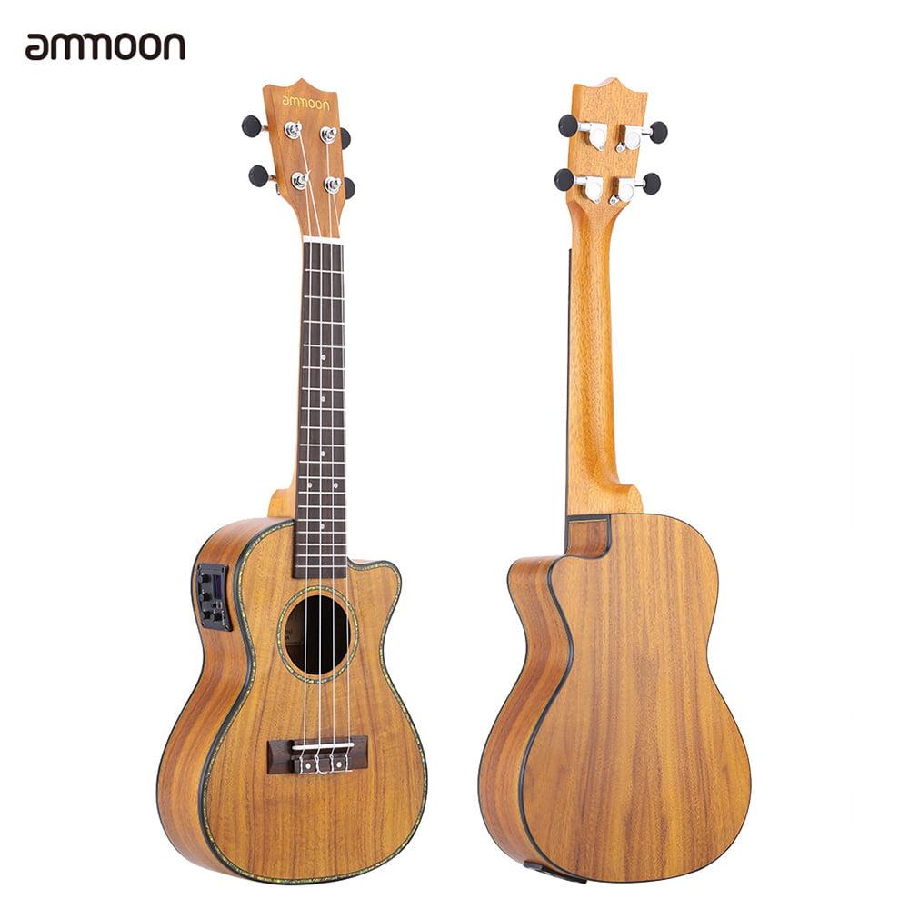 "ammoon 24"" Cutaway Ukulele Rosewood 4 Nylon Strings LED EQ Koa Plywood Cowry Shell... by"