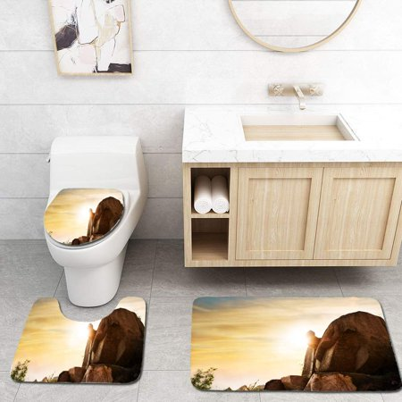 XDDJA Mountain high Rock and Sunset 3 Piece Bathroom Rugs Set Bath Rug Contour Mat and Toilet Lid Cover - image 1 of 2