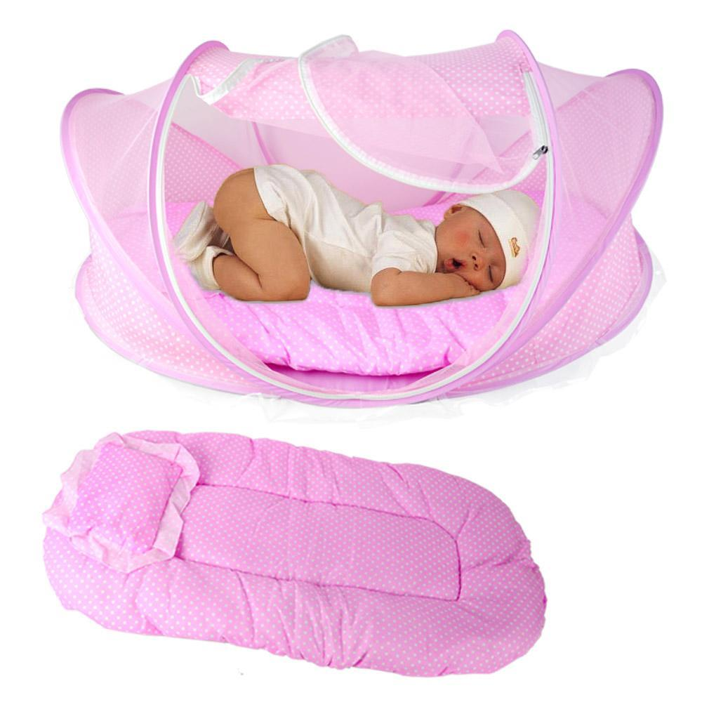 Foldable Baby Kids Infant Bed Dot Zipper Canopy Mosquito Net Tent Pink