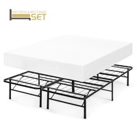 Best Price Mattress 10 Inch Memory Foam Mattress and Innovated Steel Bed Frame Set - King
