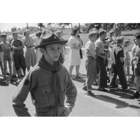 Maryland Boy Scout 1940 Na Boy Scout Acting As A Guard During A Fourth Of July Soapbox Derby In Salisbury Maryland Photograph By Jack Delano 4 July 1940 Rolled Canvas Art     24 X 36
