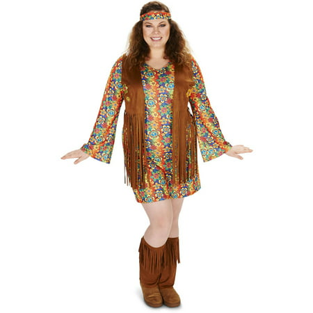 60's Hippie with Fringe Women's Plus Size Adult Halloween Costume - Dog Hippie Costume