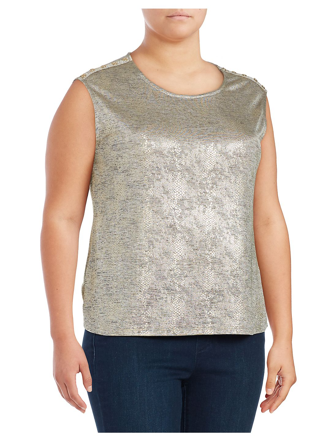 Plus Metallic Tank Top