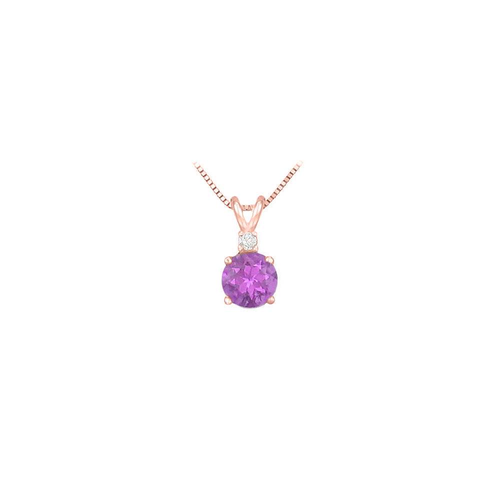 Diamond and Round Amethyst Solitaire Pendant 14K Rose Gold 1.00 CT TGW February Gemstone Gift - image 2 of 2