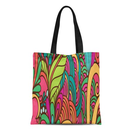 ASHLEIGH Canvas Tote Bag Bright Colorful Floral Paisley Boho Pattern Funky Bohemian Urban Reusable Handbag Shoulder Grocery Shopping Bags