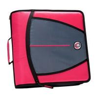 3 in.  Mighty Zip Tab O-Ring Binder, Pink