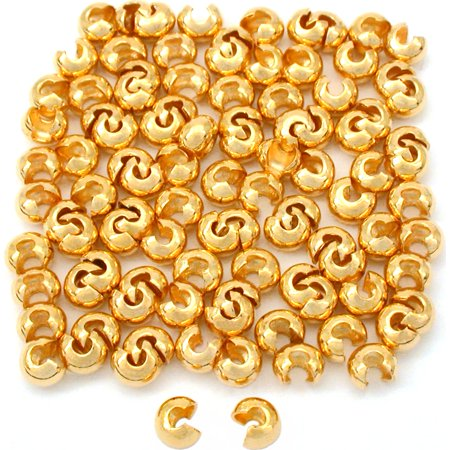 100 Real Gold Plated Crimp Bead Covers Beading 4mm