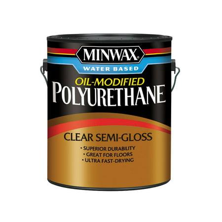 Minwax Water Based Oil-Modified Polyurethane, Semi-Gloss, Clear, 1 Gallon