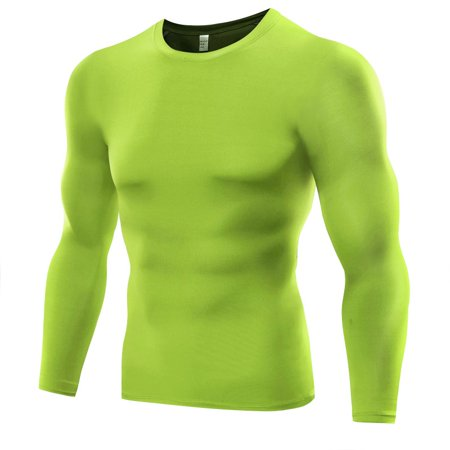 MarinaVida Men's Long Sleeve Tights Dry Breathable Round Collar Basketball Running Fitness Top T-Shirt ()