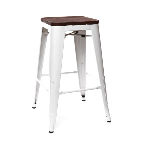 Dreux Glossy White Elm Wood Steel Stackable Counter Stool