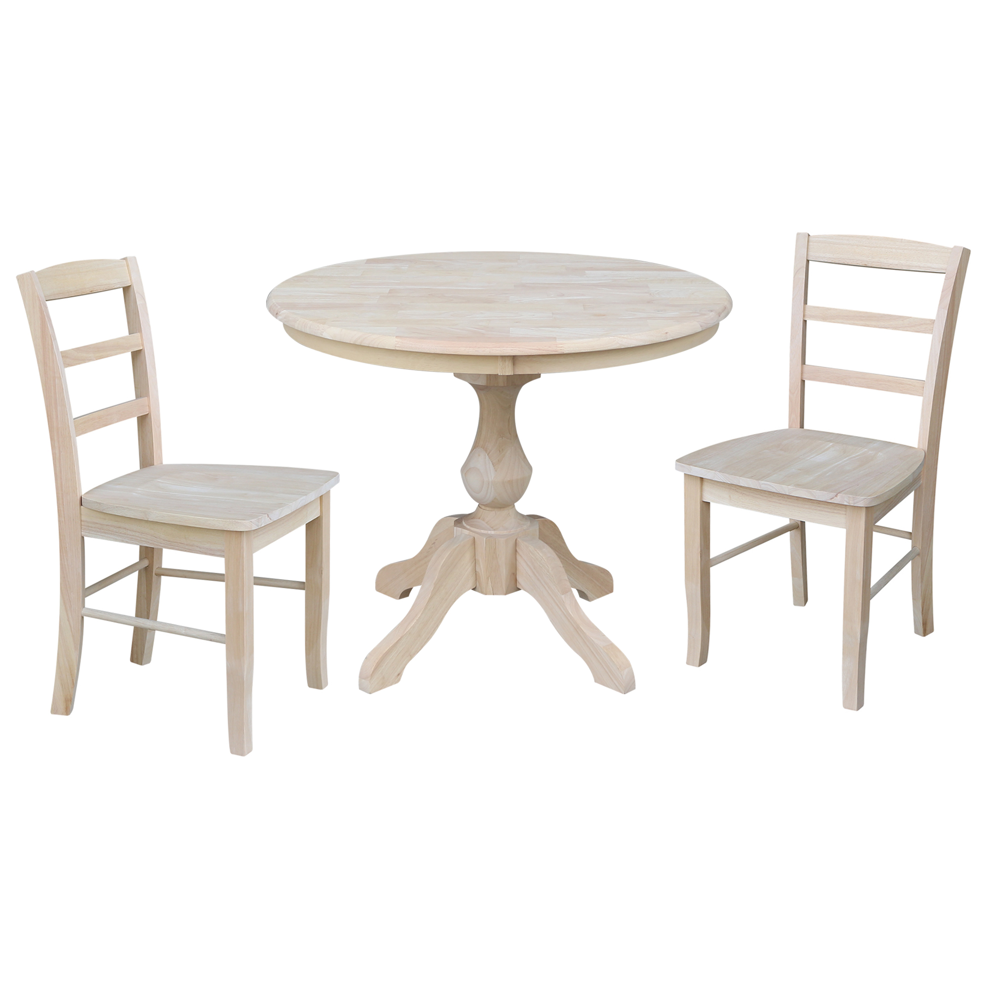 36 Round Top Pedestal Dining Table With 2 Madrid Chairs Unfinished 3 Piece Set