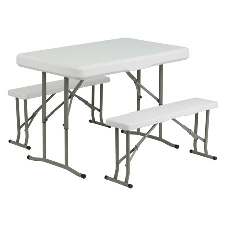 Flash Furniture Plastic Folding Table and Benches ()