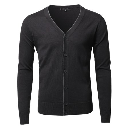 Mens Classic V-neck Sweater - FashionOutfit Men's Solid Classic V-Neck Button Down Sweater Cardigan