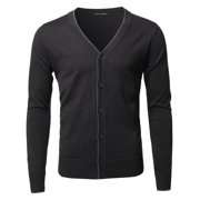 FashionOutfit Men's Solid Classic V-Neck Button Down Sweater Cardigan
