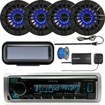Kenwood KMRD375BT Marine Bluetooth Receiver, Single DIN Radio Cover, 4x Enrock 6.5
