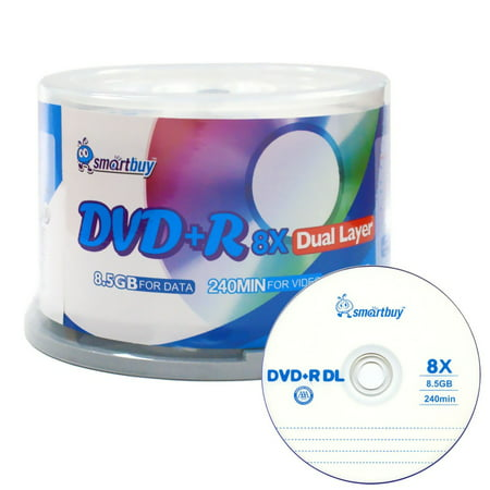 SmartBuy Logo 50 Pack DVD Plus R Dvd+r Dl 8.5gb 8x Double Layer Blank Data Record 50 Discs -