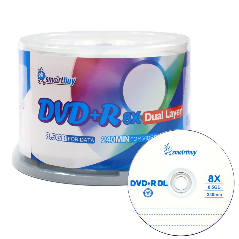 SmartBuy Logo 50 Pack DVD Plus R Dvd+r Dl 8.5gb 8x Double Layer Blank Data Record 50 Discs Spindle