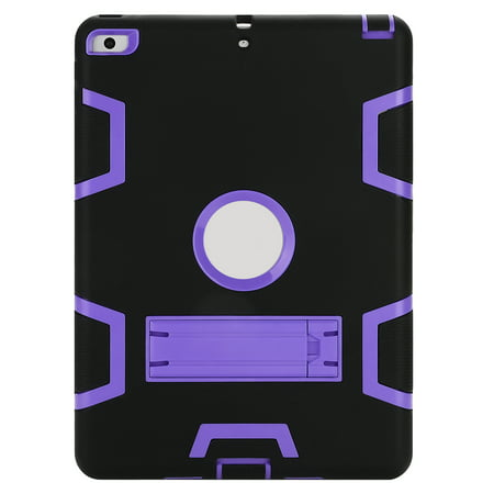 iPad 2018 Case, TKOOFN Heavy Duty Hybrid Armor Shockproof Protective Case for iPad 2017 9.7 Inch Black+Purple