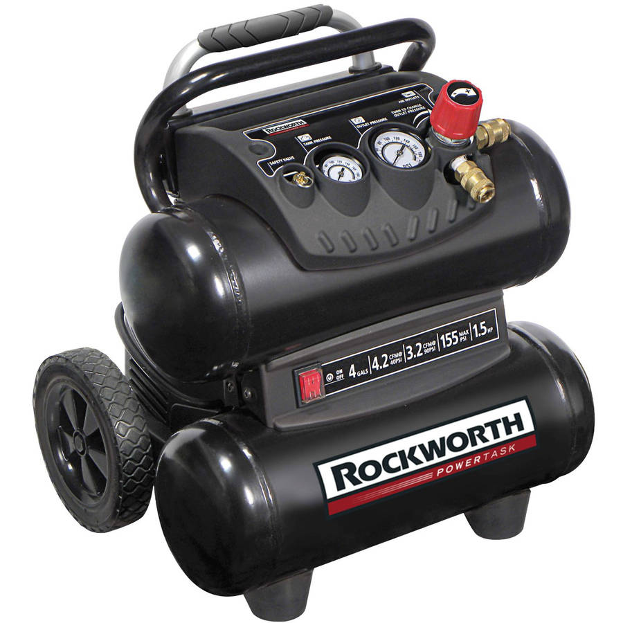Factory Reconditioned Rockworth 1.5 HP 4-Gallon Oil-Free Twin-Stack Air Compressor, Black
