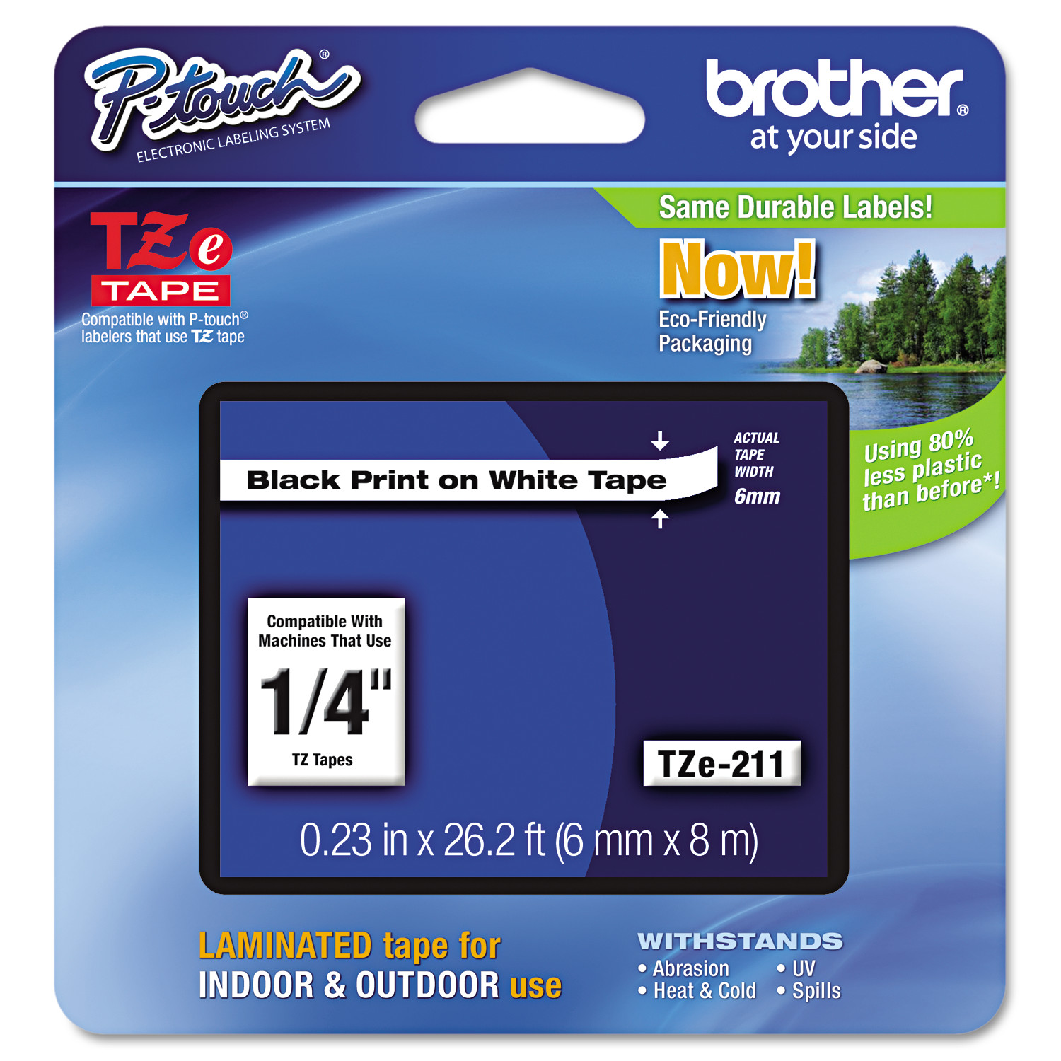"Brother P-Touch TZe Standard Adhesive Laminated Labeling Tape, 1/4""w, Black on White"