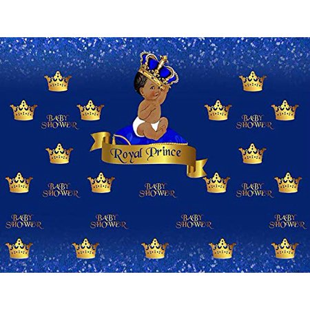 Baby Shower Royal Prince Baby Gold Blue Crown Edible Cake Topper Image C01 - 1/4 sheet (Prince Crown Cake Topper)