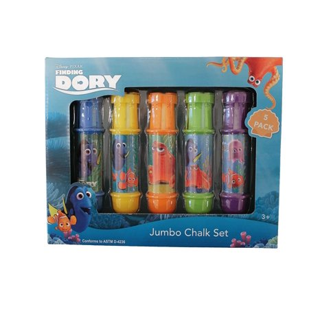 Disney Pixar Finding Dory 5 Piece Jumbo Chalk Set with Adjustable Holders - Chalk Holders