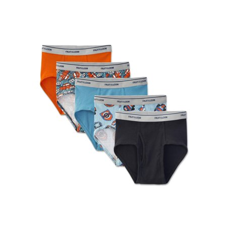 Fruit of the Loom Print and Solid Fashion Briefs, 5 Pack (Little Boys & Big (Hanes Toddler Boys Briefs)