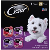 (24 Pack) CESAR Soft Wet Dog Food Classic Loaf in Sauce Beef Recipe, Filet Mignon, Grilled Chicken and Porterhouse Steak Variety Pack, 3.5 oz. Easy Peel Trays