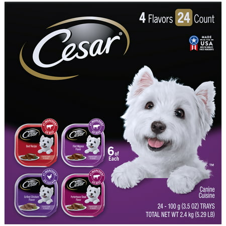 CESAR Wet Dog Food Classic Loaf in Sauce Beef Recipe, Filet Mignon, Grilled Chicken, & Porterhouse Steak Flavors Variety Pack, (24) 3.5 oz.