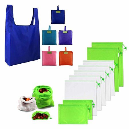 Reusable Produce Bags Mesh 9 Pack Grocery Shopping Bags 5 Pack Zero Waste Eco Friendly Produce Bags with Drawstring Foldable Bags Cloth Large Bluk Washable Sturdy (9 PACK +5 PACK) BeeGreen bags have 5 pack reusable shopping bags and 9 pack reusable produce bags. (1) Perfect Size and Studry (2) Eco-Friendly Materials (3) Multipurpose (4) Easy to Carry Around and Washable (5) 1 Year No-Rip Guarantee+60-Day Warranty.1. 5 Pack +9 Pack and PERFECT SIZE: BeeGreen reusable bags set: 5 pack reusable grocery bags and 9 pack mesh reusable produce bags. (a)BeeGreen reusable shopping bags are very large which can hold up to 50+ pounds of groceries. And BeeGreen large reusable shopping bags are reinforced with bias tape which makes them hold heavy loads safely.(b)BeeGreen reusable produce bags have 3 sizes for all your needs, small 7.9 11.8 , medium 14.2 11.8 , large 16.9 11.8 .2. ECO-FRIENDLY MATERIALS: BeeGreen reusable grocery bags are made of 100% RIP-STOP nylon cloth which is ideal fabric for reusable bags. It is Lightweight but VERY Sturdy and Resistant to Rips and Water. (2) The mesh fabric of mesh produces bags are very sturdy with a closer weave than other produce bags but lightweight.3. EASY TO CARRY AROUND and WASHABLE: BeeGreen reusable foldable bags can be easily folded into attached pocket-size pouch, so you can carry BeeGreen reusable foldable bags in your purse or car without taking up too much space. BeeGreen reusable shopping bags and reusabel produce bags are Machine Washable!4. MULTIPURPOSE: BeeGreen reusable shopping bags and reusabel produce bags are perfect for shopping,grocery,travel, toys,clothes, etc.5. 1 YEAR NO-RIP GUARANTEE+60-DAY WARRANTY: (a)BeeGreen reusable shopping bags: Well replace or refund reusable shopping bags that rip or break within 1 year of purchase. (b)BeeGreen reusable produce bags: We provide you with a 60-Day warranty and 30 days.
