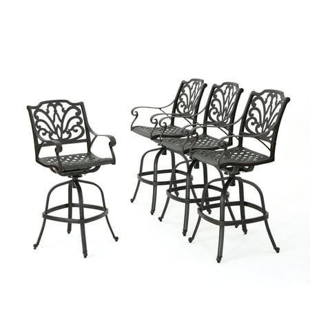 Alexandria Outdoor Cast Aluminum Barstools, Set of 4, Bronze Finish