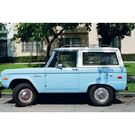 Peel-n-Stick Poster of Oldtimer Blue Jeep Car Vehicle Vintage Poster 24x16 Adhesive Sticker Poster Print