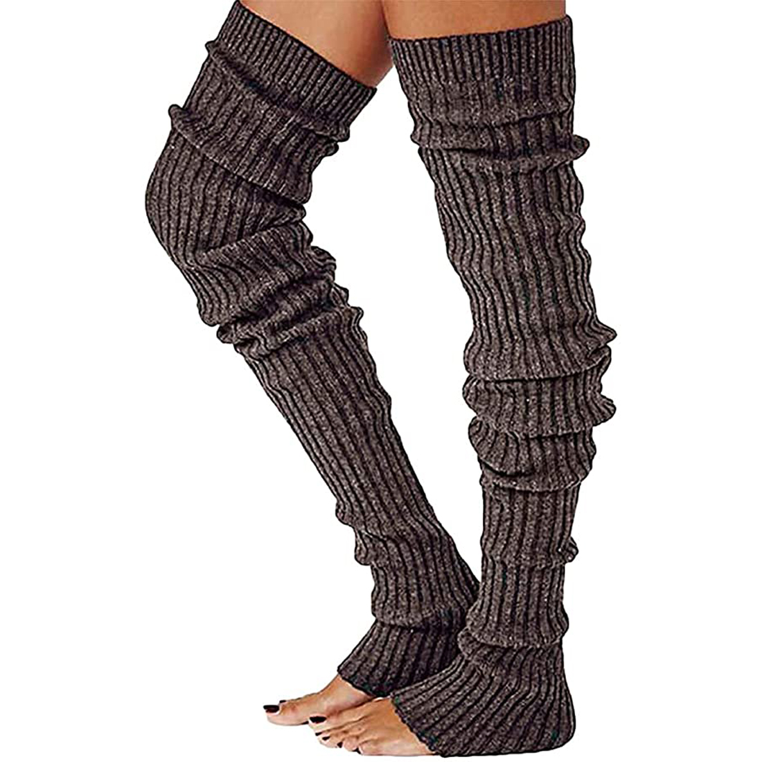 Details about  /Warm Thigh High Sock Women Solid Color Over knee Long Boot Knitted Cable Knit