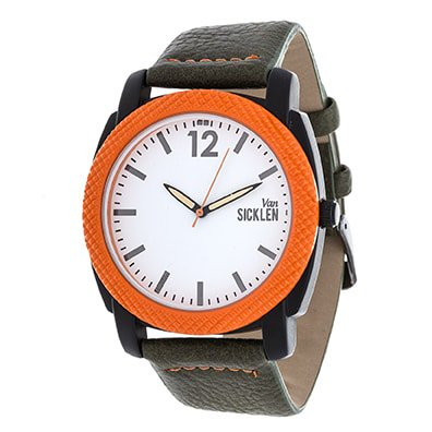 Xtreme Van Men's Orange Case and White Dial / Green Leather Strap Watch - Green Dial Tan Leather Strap