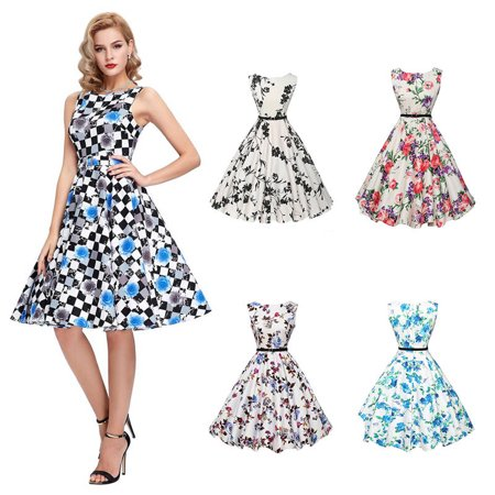 Women Retro Vintage Rockabilly Style 1950s 60s Floral Swing Sexy Casual Dresses - 60s Dress Up