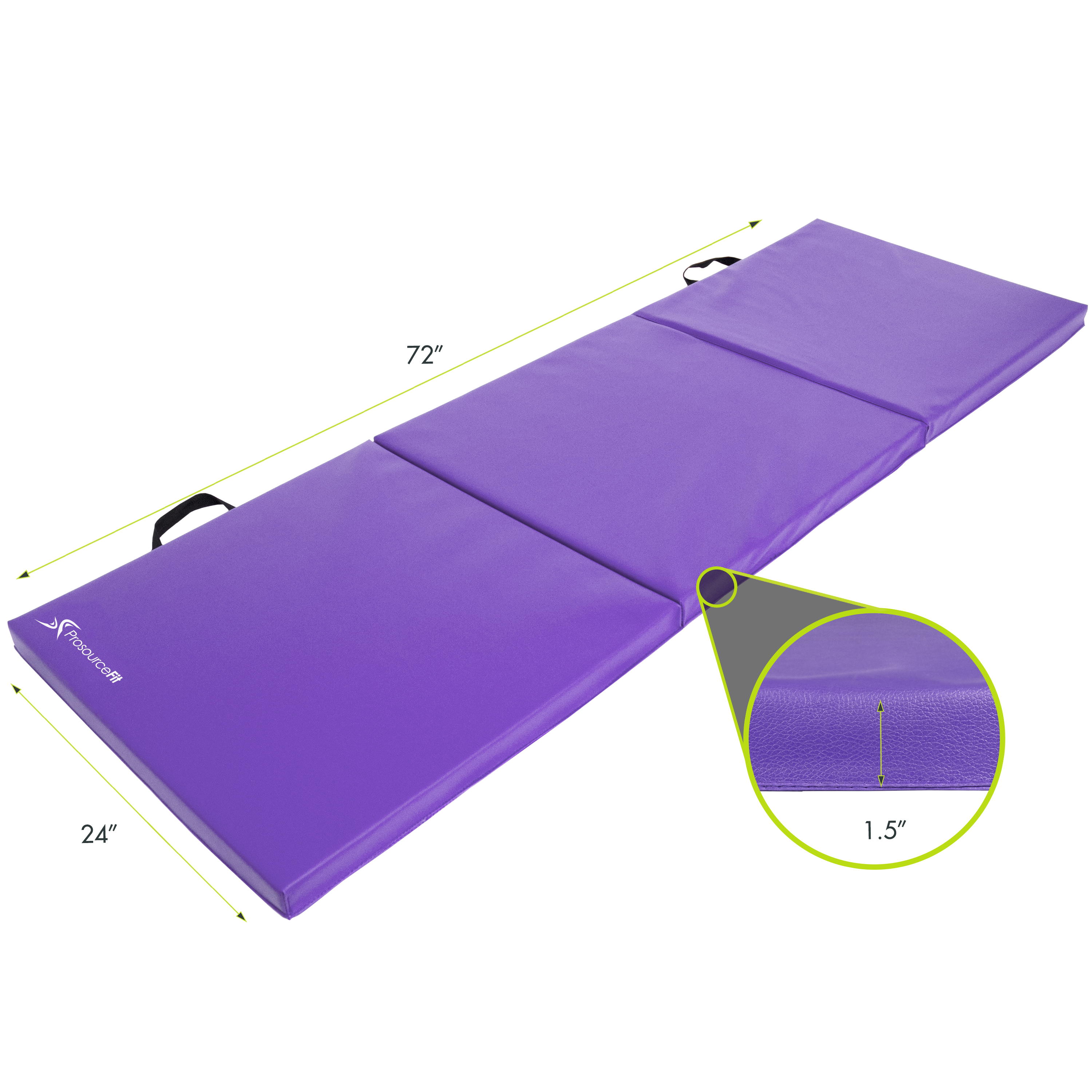 Stretching Core Workouts Gymnastics ProsourceFit Tri-Fold Folding Thick Exercise Mat 6/'x2/' with Carrying Handles for MMA