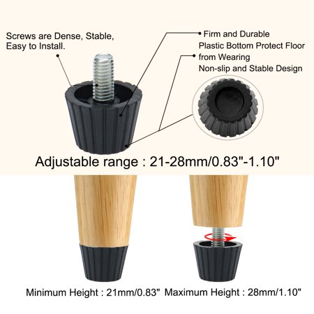 M8 x 17 x 27mm Leveling Feet Adjuster Floor Protector for House Sofa Leg 12pcs - image 6 of 7