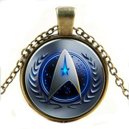 - Star Trek Pendant Necklace Anti-Tarnish Copper Color Star Trek Federation Jewelry  STJ-2