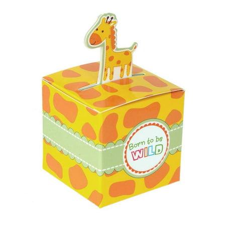 Giraffe Safari Animal Baby Shower Favor Boxes, 2-Inch, 12-Piece