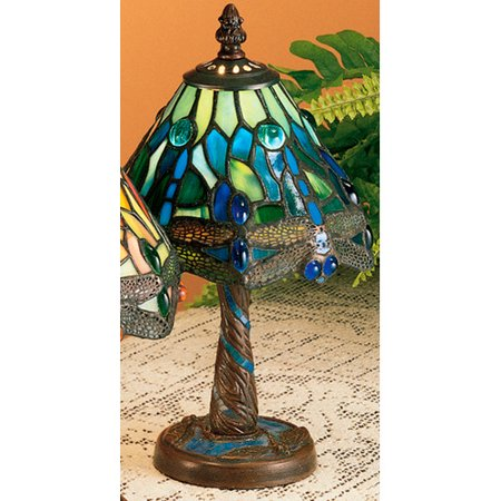 Meyda Tiffany 26617 Hanginghead Dragonfly 1-Light Stained Glass / Tiffany Accent Table Lamp
