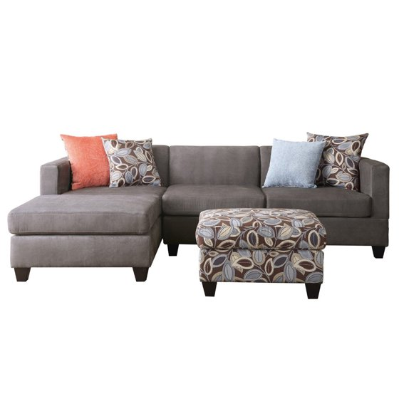 3 Piece Small Space Reversible Grey Microfiber Sectional