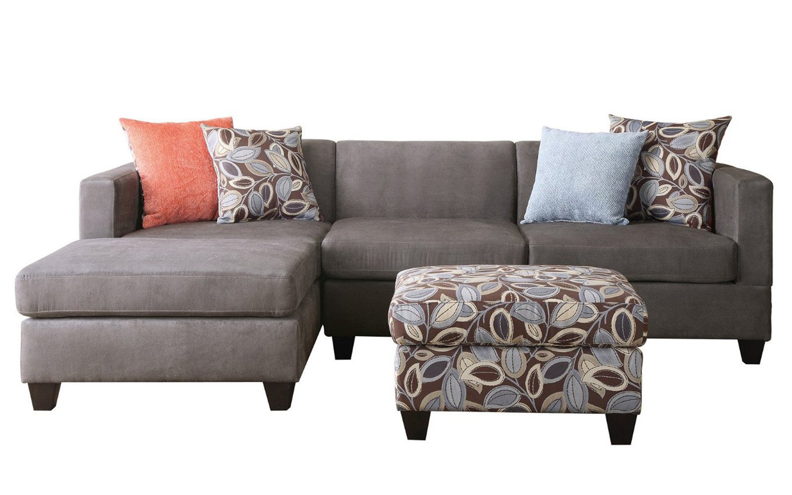 3 Piece Small Space Reversible Grey Microfiber Sectional Sofa With Floral  Print Ottoman