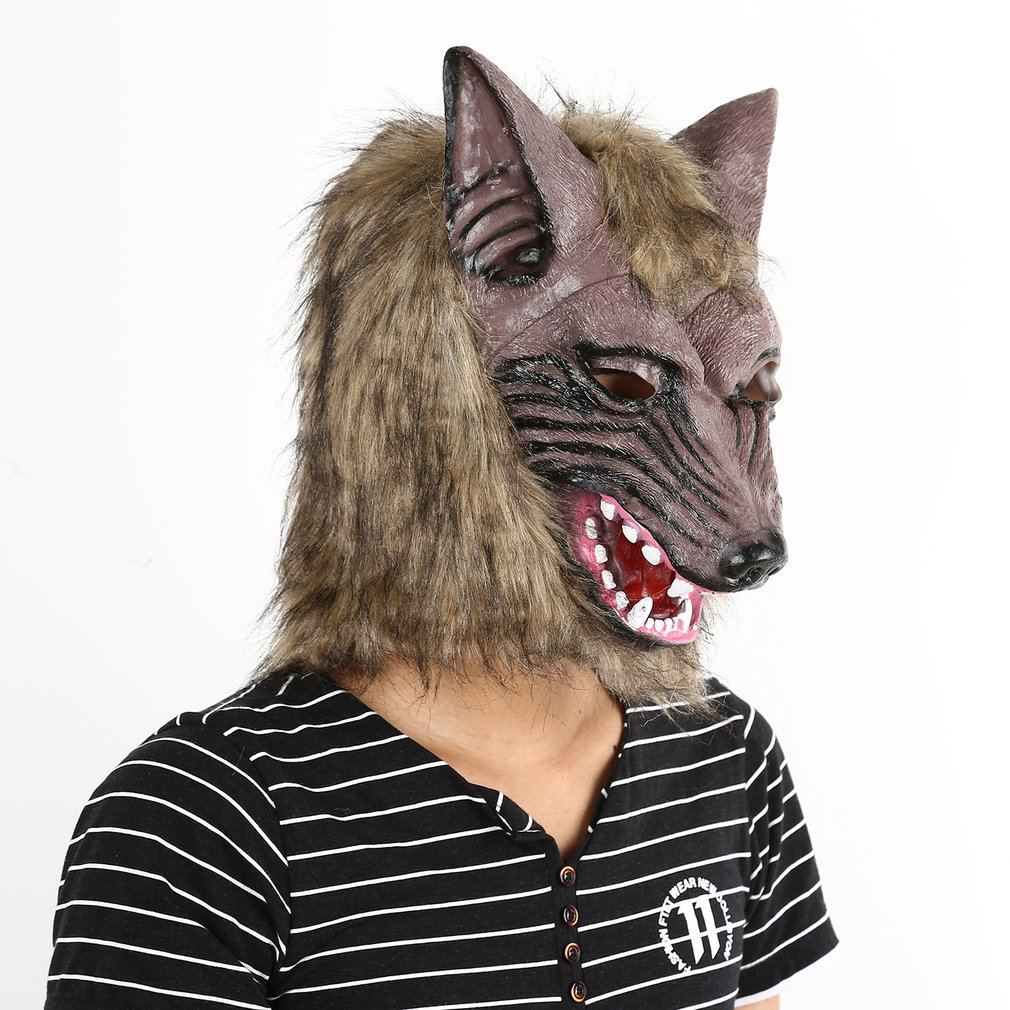 Adults and Children Latex Animal Wolf Head With Hair Mask Fancy Dress Costume Party Scary Halloween with Grey Color