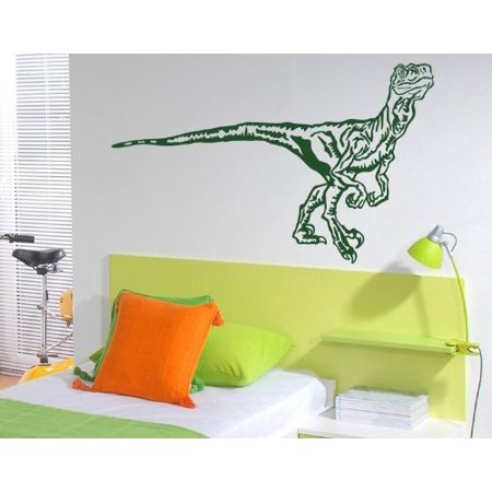Velociraptor Wall Decal - dinosaur wall decal, sticker, mural vinyl art home decor - 3794 - White, 16in x 10in - Dinosaur Home Decor