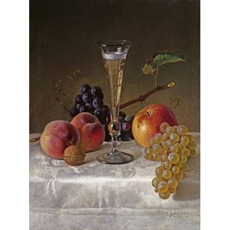 Non Alcoholic Champagne (Still Life With Glass of Champagne Stretched Canvas - Milne Ramsay (9 x 12) )