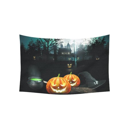 PHFZK Halloween Theme Wall Art Home Decor, Moon Pumpkin Castle Tapestry Wall Hanging 40 X 60 Inches](Halloween Main Theme Mp3)